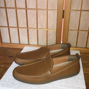 Mens Tommy Hilfiger Brown Leather Slip On Loafers